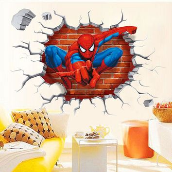 "Creative Home Decor 3D Wall Stickers Cartoon "" Spider Man"" Pattern For Baby Room 45*50 CM Mural Art Decals Wallpapers"