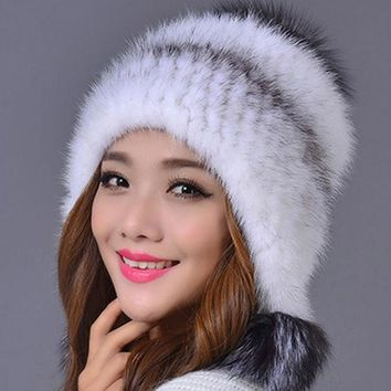 DCCKJG2 100% Real Mink Fur Hat for Women Warm Thick Female Cap Winter Knitted Mink Fur Beanies Cap with Fur Pom Poms