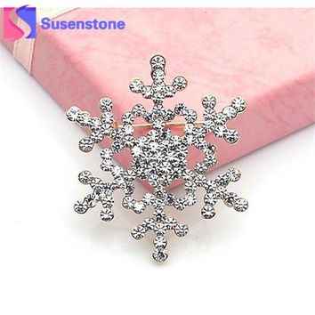 DCCKJY1 2016 New Fashion Brooch Pin Crystal Rhinestone Large Snowflake Winter snow Theme
