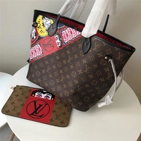 Lv Brown Neverfull Mm With Design