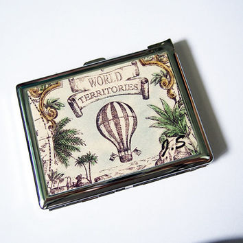 Vintage Balloon Cigarette Case with Lighter, Cigarette Box, Card Holder