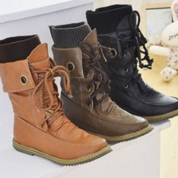 Fashion Vintage Lace up Women Motorcycle Winter Snow Boots, All year round boots [7651890182]