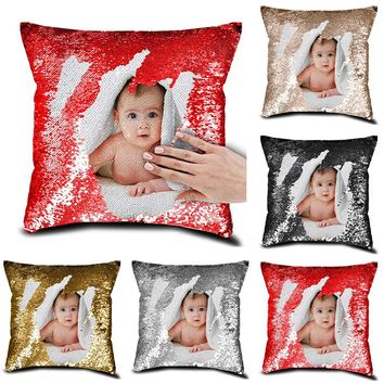 Personalized CUSTOM Photo Print Sequined Cushion Pillow Cover