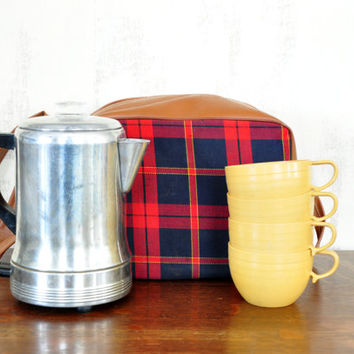 Vintage Coffee Percolator with Cups and Plaid Carrying Bag, Travel Coffee Maker, Empire Metal Ware
