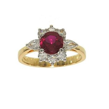 Perfect Size Two Tone Cluster Fashion Ring Done in Synthetic Ruby and Clear Cubic Zirconia