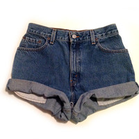 Vtg 90s LEVIS Size 27 High Waist Rolled Cuff Denim Cutoff Women's Shorts