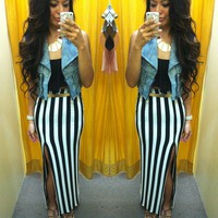 Stripe slit maxi skirt