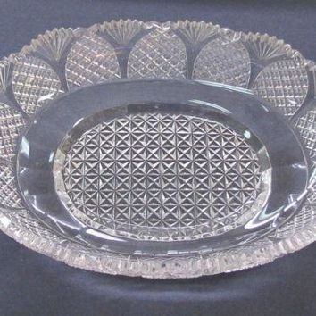 Old Cut Glass oval dish Antique Crystal  insert
