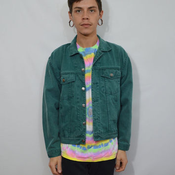 90s Denim Jacket Mens Small Green Colored Jean Soft Grunge Hipster Vintage Men's Clothing Women's Unisex Med Large 1990s Dark Green