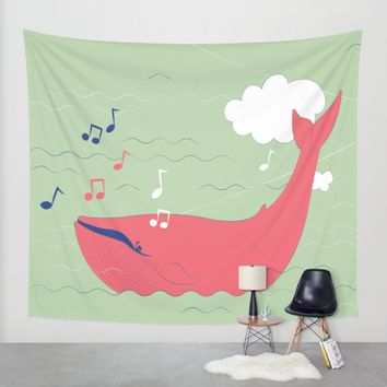 The Singing Whale Wall Tapestry by Texnotropio