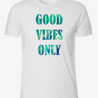 Tumblr Hippie Quote Good Vibes Only Aqua Watercolor Background Instagram Boho Polyester Unisex Adult Crewneck Tshirt