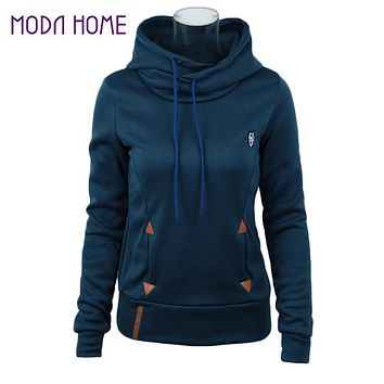 2016 Autumn Winter Solid Women Hoodies Plus Size 3XL Loose Sweatshirt Fashion Pu Leather Patch Coat With Pocket
