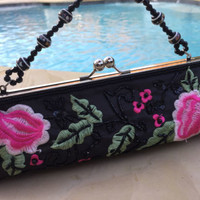 Embroidered Floral Black Satin Beaded Evening Bag Cruise Purse