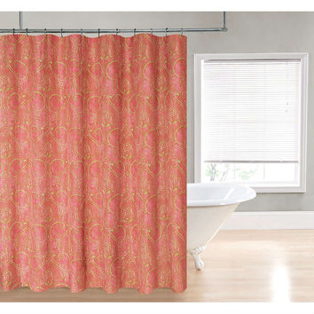 Coral Red Gold Yellow Damask Paisley Shower Curtain