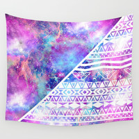 Girly Purple Pink Nebula Space White Tribal Aztec Wall Tapestry by Girly Trend