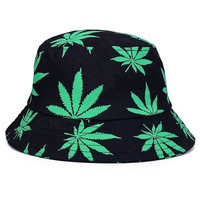 Fashion Multicolor Marijuana Weed Leaf Fisherman Cap Foldable Lovers Beach Bucket Hats & Caps