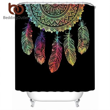 BeddingOutlet Boho Dreamcatcher Shower Curtain Mandala Waterproof Curtain Floral Black Polyester Bathroom Decoration With Hooks