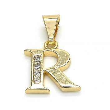 Gold Layered 05.26.0030 Fancy Pendant, Initials Design, with White Cubic Zirconia, Polished Finish, Golden Tone