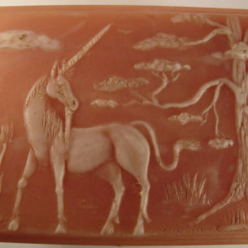 Incolay Vintage Vanity Jewelry Box Carved Unicorn Pink Signed by Artisan