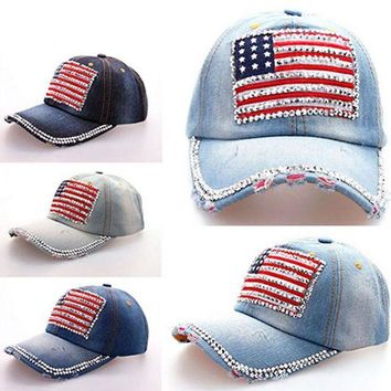 DCCKWJ7 2016 New Fashion Women Jeans Denim Cap American Flag Rhinestone Baseball Bling Hat Adjustable New
