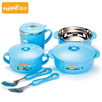 6pieces set dinnerware baby insulation Bowl lid stainless steel tableware spoon fork cup bowl dish tableware set christmas gift