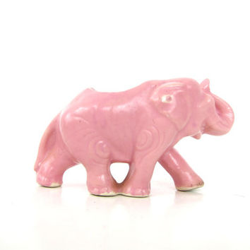 small Pink elephant planter vintage Cactus flower pot animal planter / 1950s RETRO Ceramic Pottery mid century decor Louanne's Estate Sale