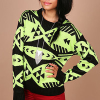 Neon Geo Sweater - Knit Sweaters at Pinkice.com