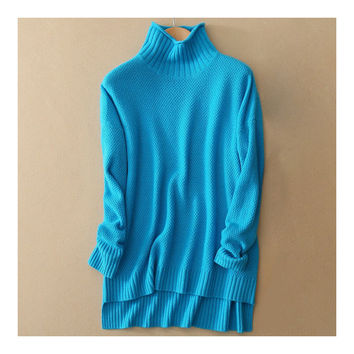 Pullover High Collar Wool Kintwear Sweater   peacock blue  S