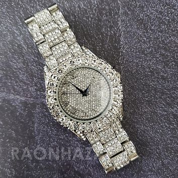 Raonhazae Hip Hop FULLY Iced Lab Diamond 14K White Gold Plated Watch with Bling Blingz