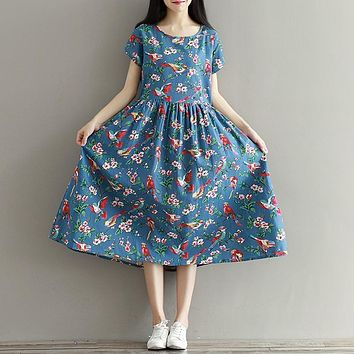 Women Summer Dress Mori Girl Short Sleeve Floral Print A Line Dress Blue Color High Waist O Neck Cotton Linen Dress Plus Size