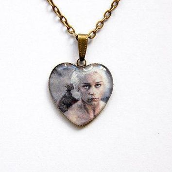 Khaleesi Daenerys Targaryen Stormborn Mother Of Dragons (emilia Clarke)   Game Of Thrones Jewelry   Handmade Vintage Cameo Pendant Necklace
