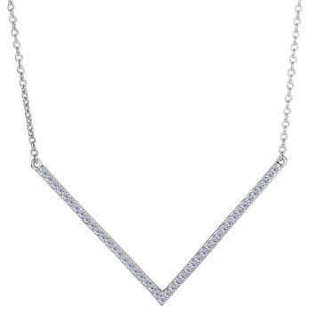 Sterling Silver Square Tube Chevron V Shaped Pendant With Cz Fashion Necklace - 18 Inch