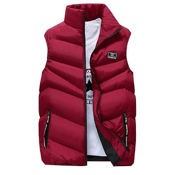Mens High Collar Puffer Vest in Red
