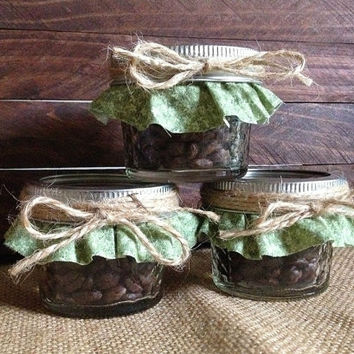 10x Rustic favors - personalized mason jars filled with coffee beans, wedding, bridal shower, tea part, baby shower favors