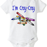 "Funny Onesuit baby boy gift: ""I'm Cray-Cray"" Crazy Crayon newborn baby gift / baby shower / blue / Preemie Size Available"