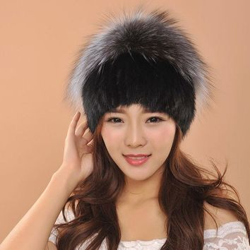 ESBU3C Elegant Quality Mink Fur Hat Women Fur Winter Hats With Ball Knitted Mink Fur Hat With Fur Ball Decoration skullies beanies