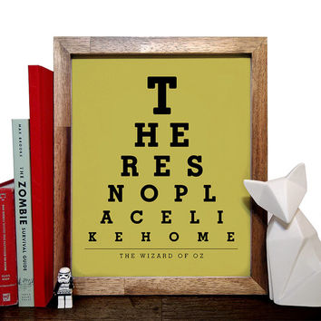 The Wizard Of Oz, Theres No Place Like Home, Eye Chart 8 x 10 Giclee Art Print, Buy 3 Get 1 Free