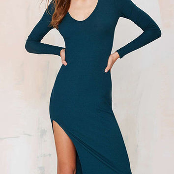 Navy Blue Long Sleeve Split Midi Dress