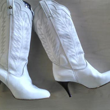 Stiletto White Cowboy boots