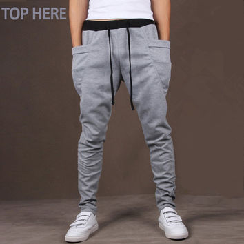 Men Casual Pants Cool Design Moletom Big Pocket Top Here Clothing Army Trousers Hip Hop Harem Pants Mens Joggers 8 Colors