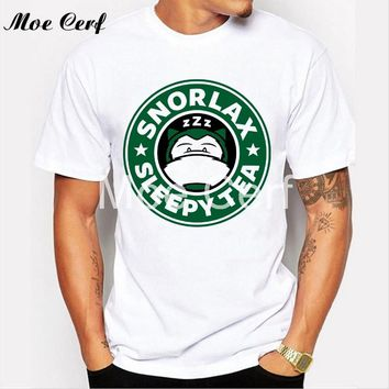 Snorlax sleep tea Letter T Shirt Creative Anime T-shirt Men Pokemon Mens T Shirt Slim Fit O Neck T-shirt Hipster Tops Tee L1-R34