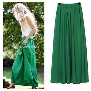 New Long Skirt Elegant Style Women Pastel Pleated Maxi Chiffon Skirts 2018 Beach Boho Summer Skirts Faldas Saia Tulle Skirt