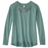 Xhilaration® Juniors Jeweled Sweatshirt - Blue Dream