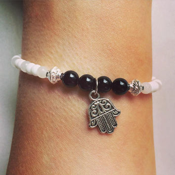 Yoga | Hamsa | Powerful Protection | Silver Charm | Black Onyx | Snow Quartz | Gemstone | Healing | Bracelet | Mindfulnessbracelet