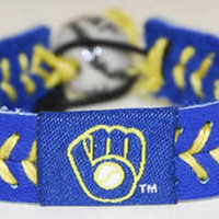 Gamewear MLB Leather Wrist Band - Brewers (BlueGold)