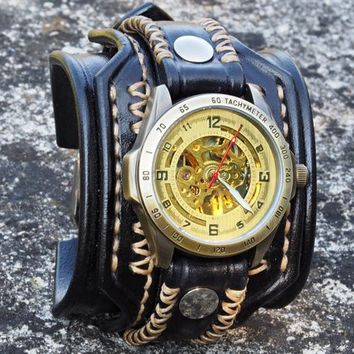 Men's Steampunk Watch, Handmade Leather Strap, Black Leather Bracelet, Handmade Leather Strap
