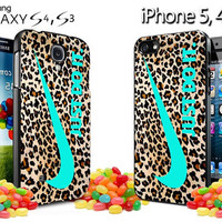 nike leopard pattern tiffanny blue logo colours  Design for iPhone 4, iPhone 4s, iPhone 5, Samsung Galaxy S3, Samsung Galaxy S4 Case