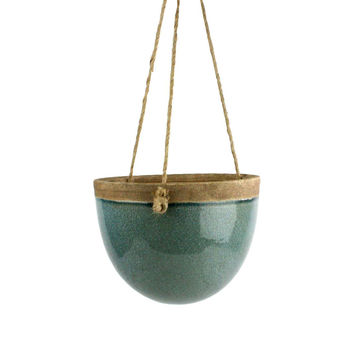 Peony Hanging Planter in Teal - Small