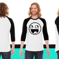 Happy Face HD VECTOR American Apparel Unisex 3/4 Sleeve T-Shirt