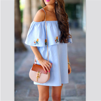 Light Blue Floral Print Layered Collar Dress